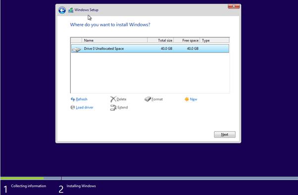 Windows Installation Drive Page
