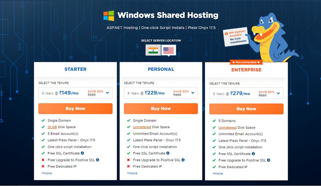 HostGator Shared Windows Hosting Review