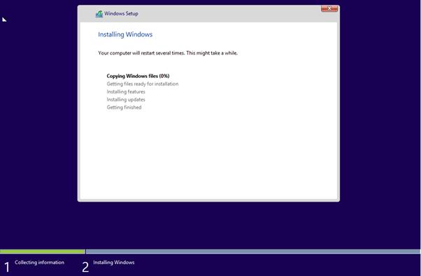 Install Windows 8 Progress Page