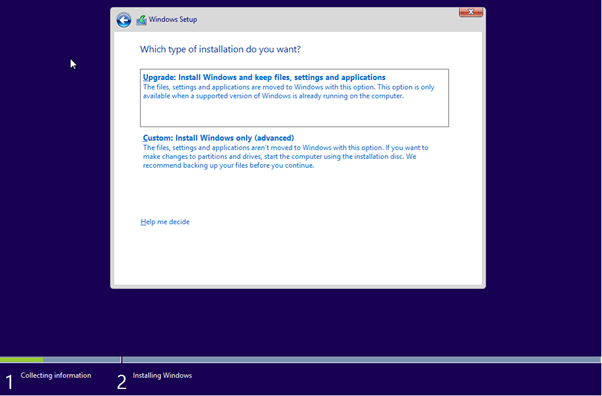 Windows Installation Type Selection Page