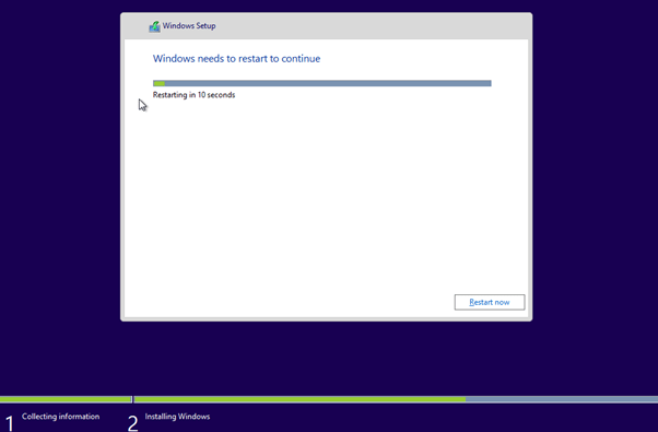 Install Windows 8 Reboot Page