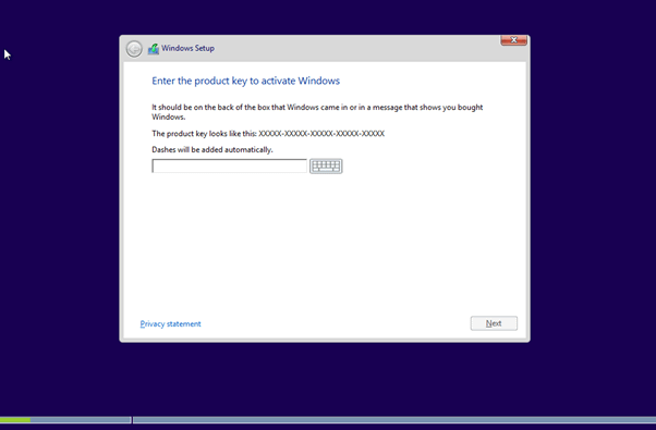 Windows 8 Activation Key page